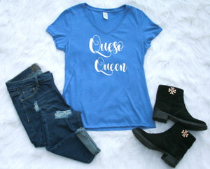 Ladies V-neck Blue Graphic Tee Queso Queen www.tinytulip.com