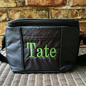 Men's 6 Pack Cooler ~ Lunch Bag   - www.tinytulip.com Lime Green Block Font