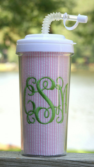 Seersucker Tall Tumbler Straw Cup ~Monogrammed www.tinytulip.com Pink Seersucker with Lime Green Interlocking Font