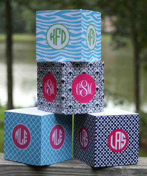 Monogrammed Sticky Note Cube