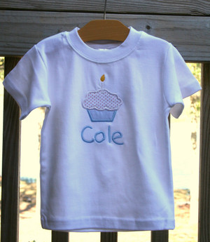 Monogrammed  Boys Birthday Applique Cupcake Shirt www.tinytulip.com