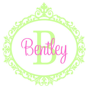 Elegant Damask Frame Wall Monogram  www.tinytulip.com Lime Green Frame with Pink Font Color