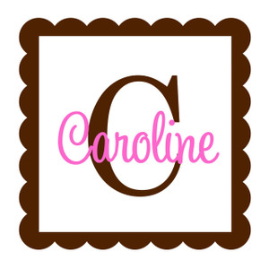 Square Scallop Frame Wall Monogram  www.tinytulip.com Brown Scallop Frame & with Pink Initial Color