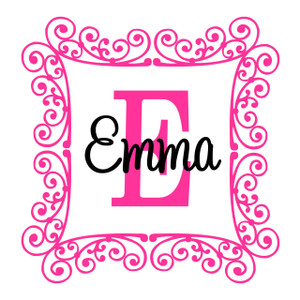 Swirly Square Frame Wall Monogram  www.tinytulip.com Hot Pink Frame Color with Black Font Color