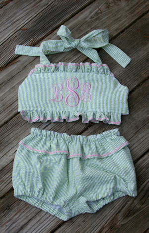 Monogrammed Girls Seersucker Swim Bathing Suit Bikini 2 piece  www.tinytulip.com Green Seersucker Suit with Pink Emma Script Font with Ric Rac