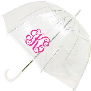 Monogrammed Dome Umbrella  www.tinytulip.com Hot Pink Interlocking Font