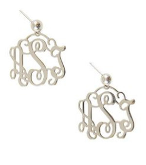 Monogrammed Filigree Earrings Sterling Silver  Free Shipping   www.tinytulip.com