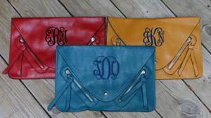 Monogrammed Envelope Zipper Clutch  www.tinytulip.com