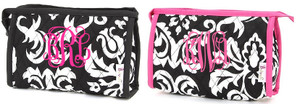 Quilted Damask Monogrammed Small Cosmetic Bag  www.tinytulip.com