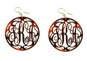 Acrylic Rimmed Script Monogram Earrings  www.tinytulip.com Tortoise