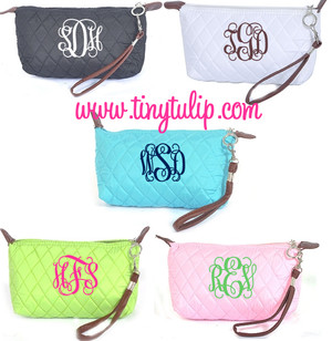 Monogrammed Quilted Wristlet Clutch   www.tinytulip.com