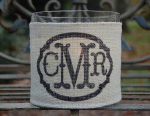 Monogram Burlap Hurricane Votive Vase www.tinytulip.com