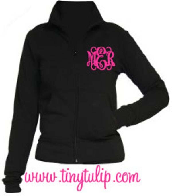 Monogrammed Yoga Work Out Jacket  www.tinytulip.com Hot Pink Interlocking Font