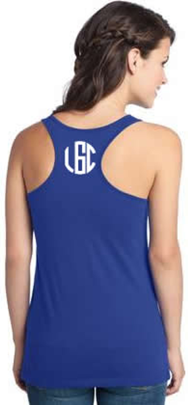 Monogrammed Solid Racerback Tank www.tinytulip.com Navy with White Circle Font