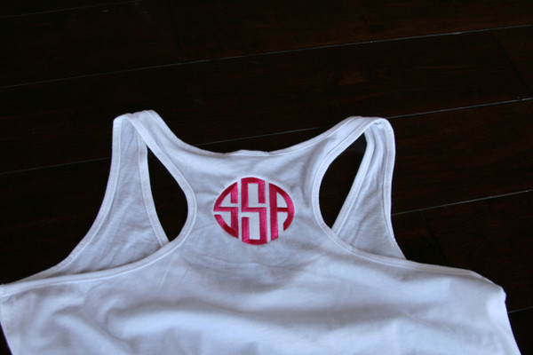 Monogrammed Solid Racerback Tank www.tinytulip.com White with Hot Pink Circle Font