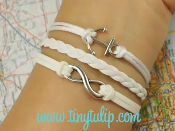 White Infinity Anchor Charm Bracelet  www.tinytulip.com