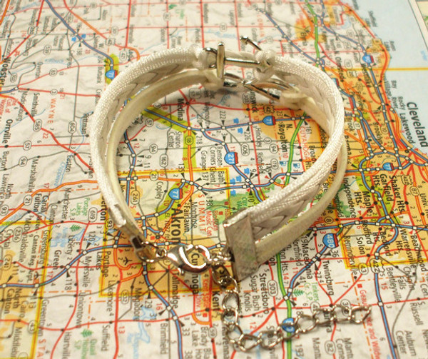 White Infinity Anchor Charm Bracelet  Free Shipping