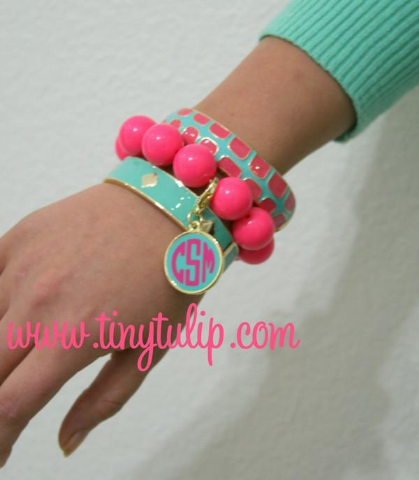 Monogrammed Enamel Bracelet Set  www.tinytulip.com Aqua & Pink Set