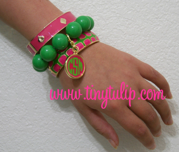 Monogrammed Enamel Bracelet Set Lime Green & Pink Set