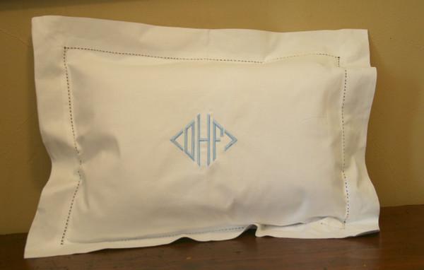Small Monogrammed Linen Boudoir Baby Pillow Sham Light Blue Diamond Font