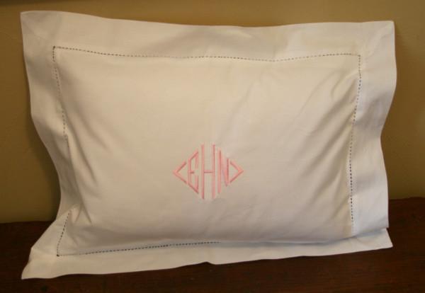Small Monogrammed Linen Boudoir Baby Pillow Sham Pink Diamond Font