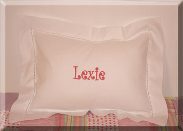 Small Monogrammed Linen Boudoir Baby Pillow Sham Hot Pink Curly Font