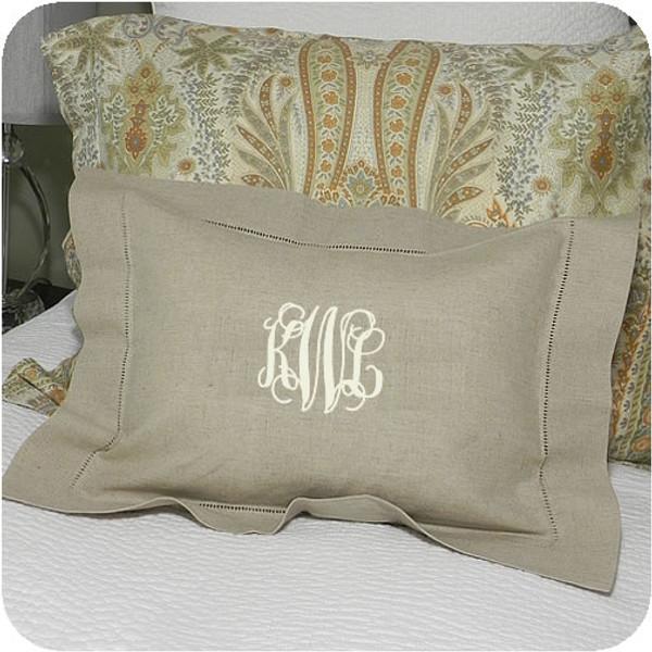 Small Monogrammed Linen Boudoir Baby Pillow Sham Oatmeal with Cream Interlocking Font