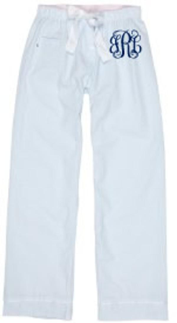 Monogrammed Seersucker Lounge Pajama Pants  www.tinytulip.com Blue Seersucker Pants with Navy Interlocking Font