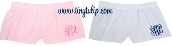 Monogrammed Seersucker Boxer Shorts  www.tinytulip.com
