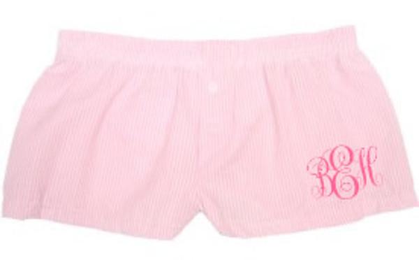 Monogrammed Seersucker Boxer Shorts  www.tinytulip.com Pink Boxers with Preppy Pink Emma Font
