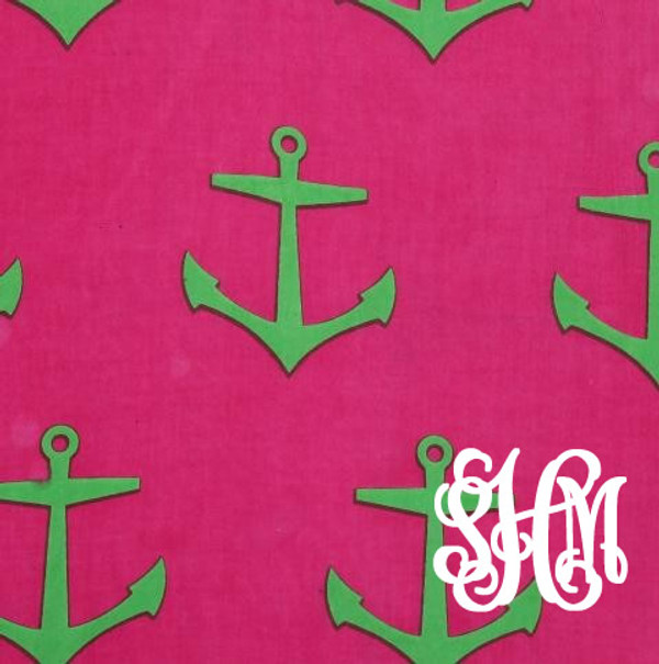 Monogrammed Trimmed Tunic Swimsuit Cover Up   www.tinytulip.com Hot Pink Anchor Pattern with White Interlocking Font