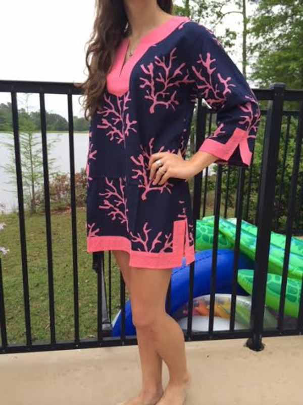 Monogrammed Trimmed Tunic Swimsuit Cover Up   www.tinytulip.com Navy Coral Pattern