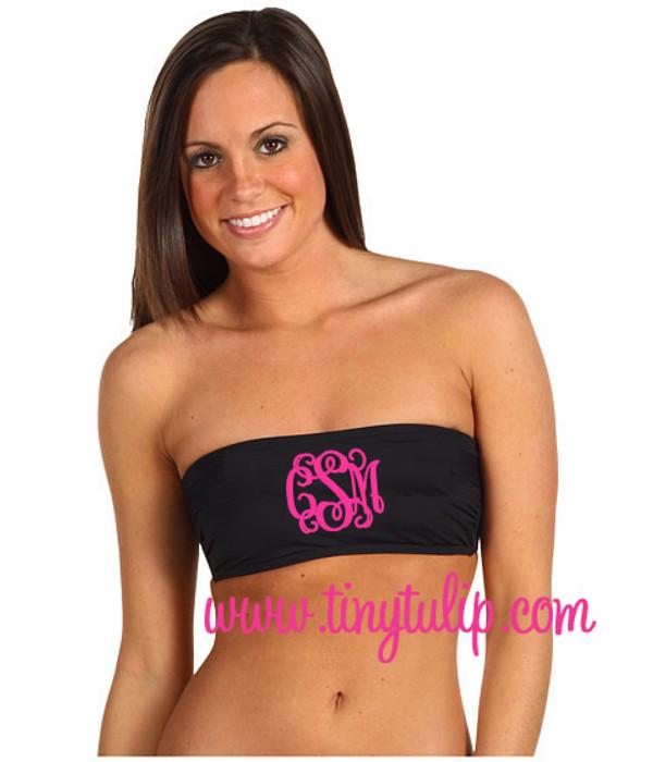 Monogrammed Bandeau Bathing Suit Tube Top   www.tinytulip.com Black with Hot Pink Interlocking Monogram