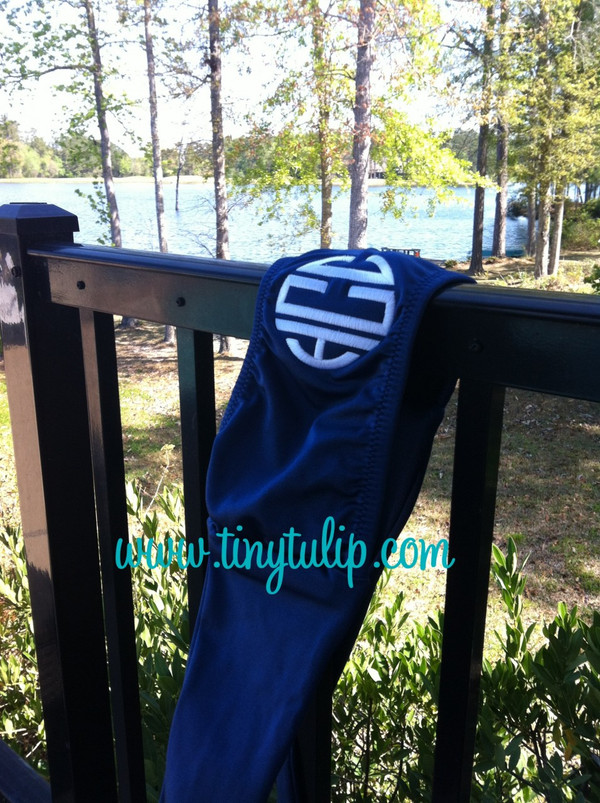 Monogrammed Bandeau Bathing Suit Tube Top www.tinytulip.com Navy with White Circle Monogram