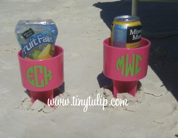 Monogrammed Spiker Beach Beverage Holder  www.tinytulip.com Hot Pink with Lime Green Circle Font