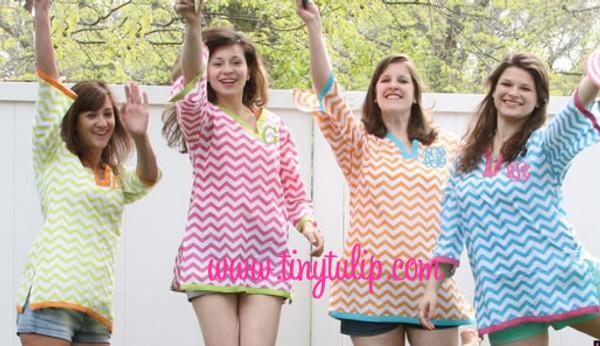 Monogrammed Chevron Tunic Shirt Swimsuit Cover Up  www.tinytulip.com