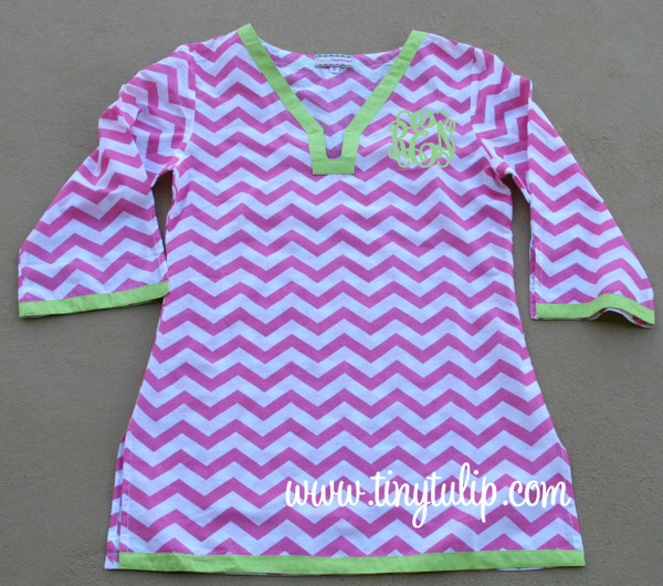 Monogrammed Chevron Tunic Shirt Swimsuit Cover Up  www.tinytulip.com Hot Pink Tunic with Lime Green Interlocking Font
