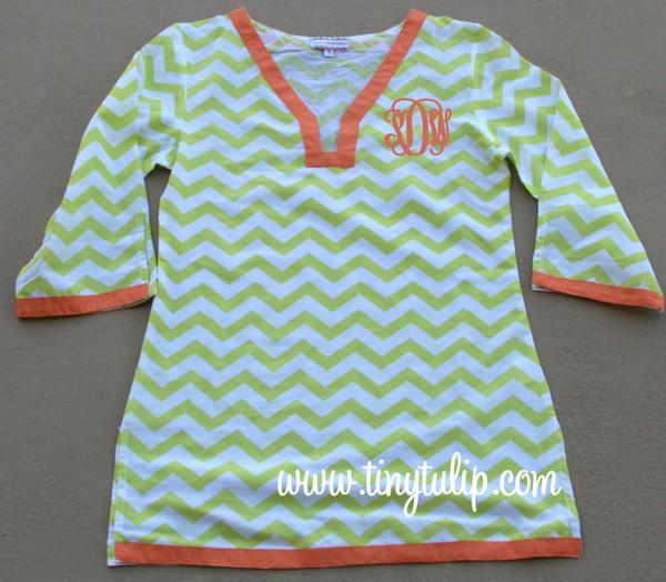 Monogrammed Chevron Tunic Shirt Swimsuit Cover Up  www.tinytulip.com Lime Green Tunic with Orange Interlocking Font