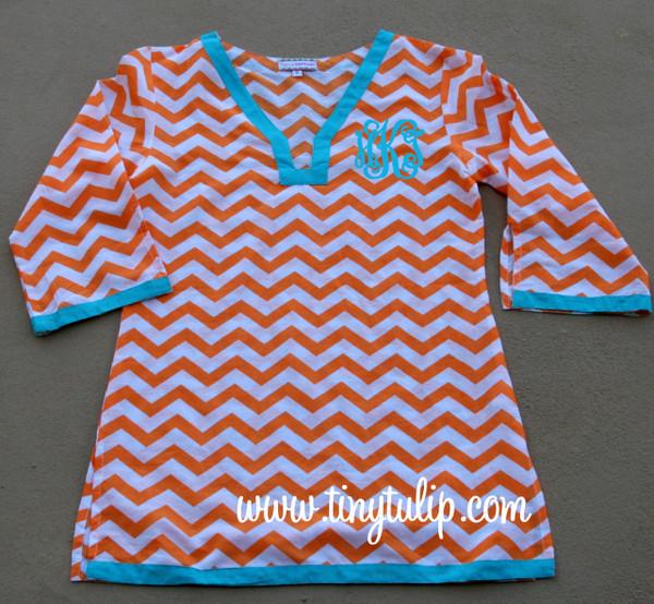 Monogrammed Chevron Tunic Shirt Swimsuit Cover Up  www.tinytulip.com Orange Tunic with Turquoise Interlocking Font