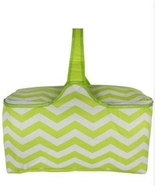 Chevron Picnic Basket Mongrammed  www.tinytulip.com Lime Green