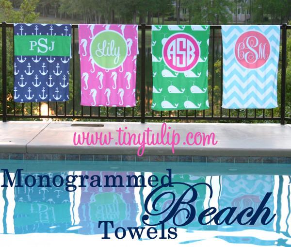 Personalized Beach Towel Monogrammed   www.tinytulip.com