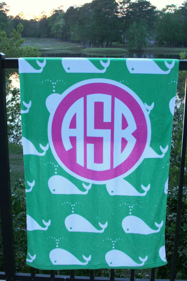 Personalized Beach Towel Monogrammed   www.tinytulip.com Kelly Green Whales with Solid Circle Hot PInk Circle Font