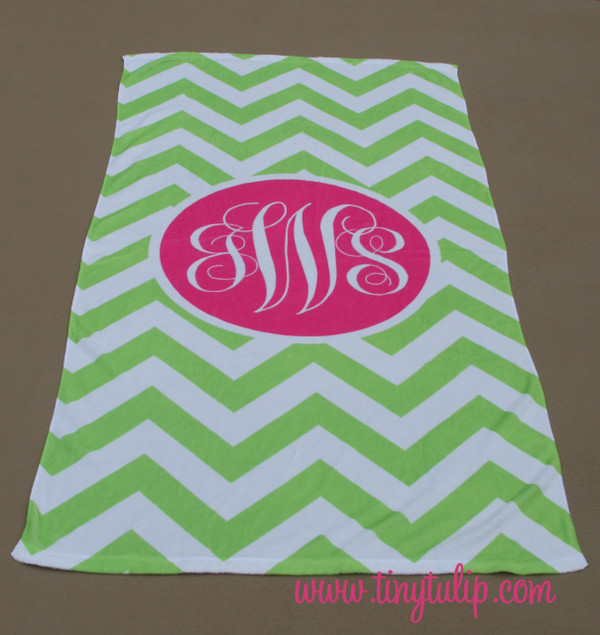 Personalized Beach Towel Monogrammed   www.tinytulip.com Lime Green Chevron with Hot Pink Solid Circle Emma Font