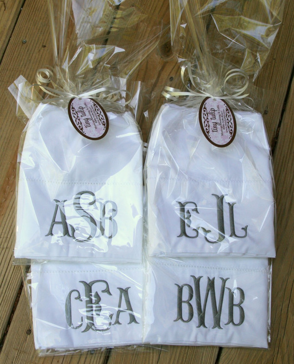 Monogrammed Pillowcase   www.tinytulip.com Charcoal Gray Fishtail Font