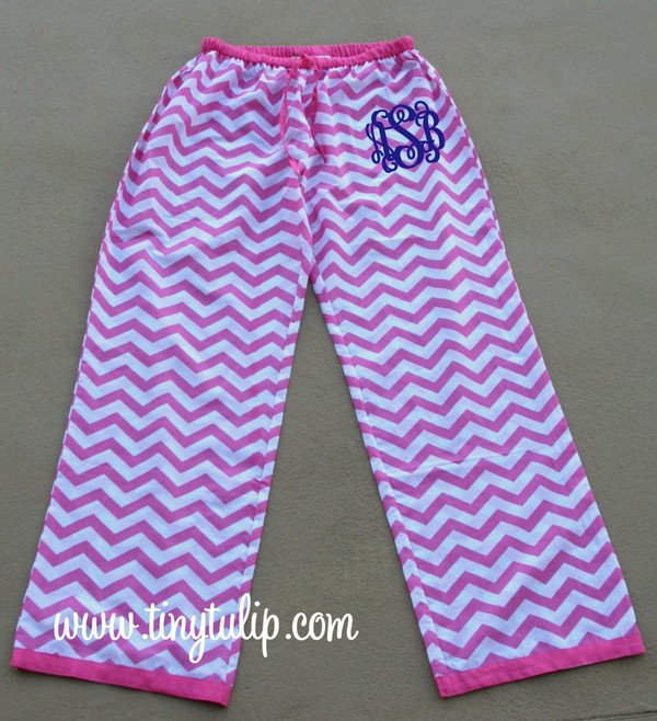 Monogrammed Chevron Lounge Pajama Pants  www.tinytulip.com Hot PInk Pants with Navy Interlocking Font