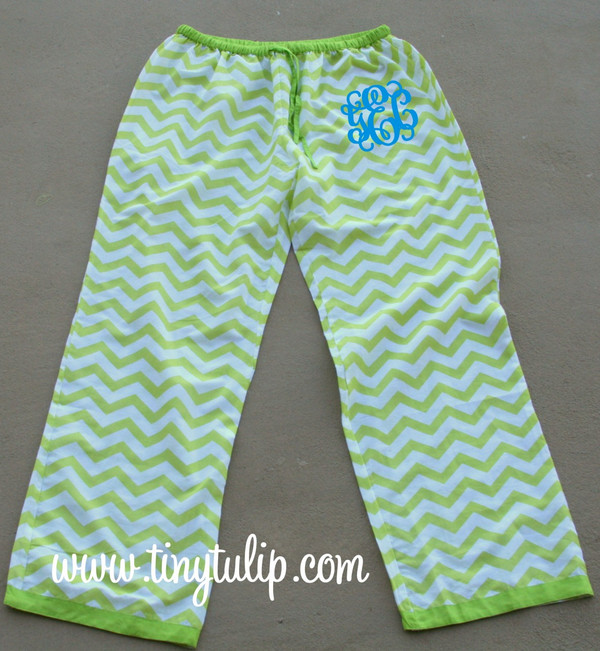 Monogrammed Chevron Lounge Pajama Pants  www.tinytulip.com Lime Green Pants with Turquoise Interlocking Font