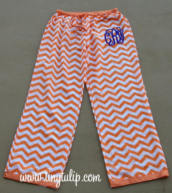 Monogrammed Chevron Lounge Pajama Pants  www.tinytulip.com Orange Pants with Navy Interlocking Font