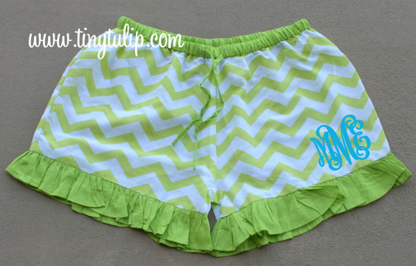 Monogrammed Chevron Ruffle Lounge Shorts  www.tinytulip.com Lime Green with Turquoise Interlocking Font