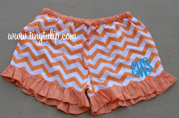 Monogrammed Chevron Ruffle Lounge Shorts  www.tinytulip.com Orange with Turquoise Interlocking Font