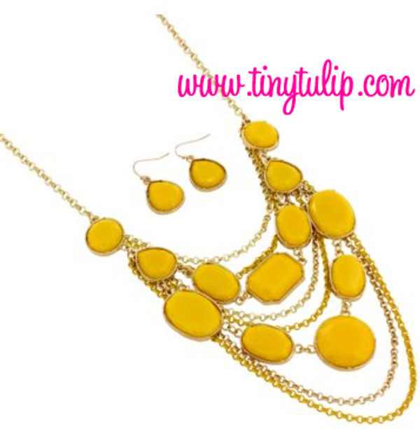 Layered Gem Chain Necklace & Earring Set  www.tinytulip.com Mustard